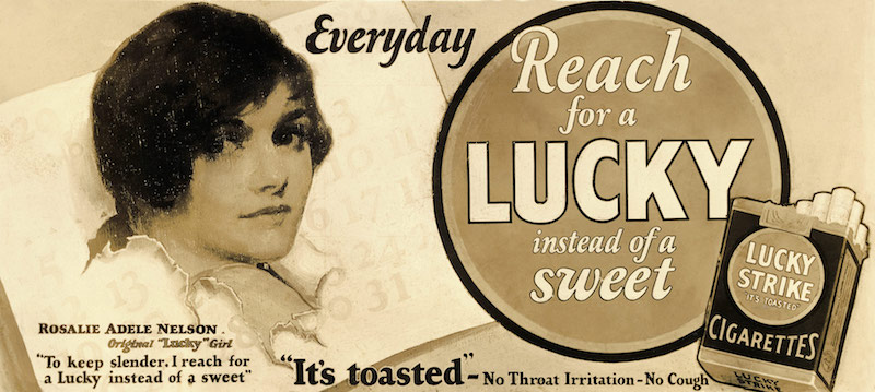 Advertisement for Lucky Strike cigarettes, 1930