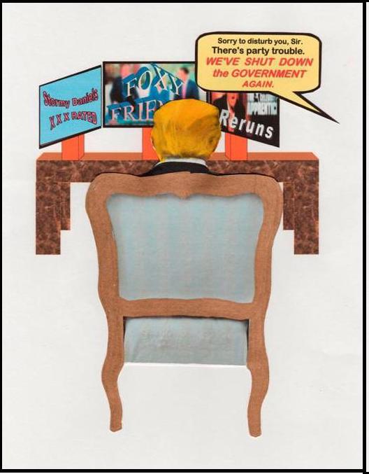"Panel 1/3 of Cartoon ""Gov't Shutdown,"" by Monica Farrington 10 Feb. 2018"