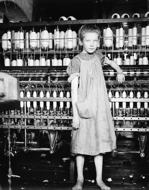 """Addie Card, 12 years. Spinner in North Pormal ([i.e., Pownal) Cotton Mill. Vt."" by Lewis Hine, 1912 - 1(E. F. Brown - Library of Congress, Prints & Photographs Division, National Child Labor Committee Collection, Reproduction Number: LC-DIG-nclc-01830913)"