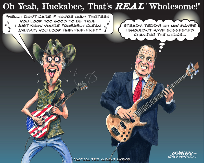 """Huckabee Wholesome."" Editorial cartoon by Gregory Crawford. © World News Trust 2015"