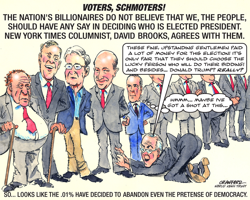 """Voters Schmoters."" Editorial cartoon by Gregory Crawford. © 2016 World News Trust."