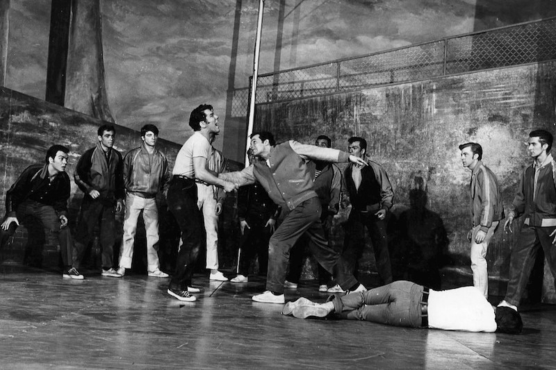 The Rumble from West Side Story 1957. Photo by Fred Fehl (eBay item photo front photo back) [Public domain], via Wikimedia Commons