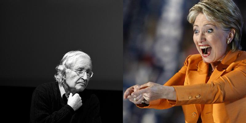 Noam Chomsky. By jeanbaptisteparis. Flickr (CC BY-SA 2.0) / Braiiiinnnsss (Hillary Clinton). By Lucas Cobb. Flickr (CC BY 2.0)