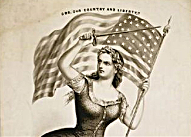 "Portion of an image entitled ""The Spirit of 61. God, Our Country and Liberty!"" by Currier and Ives circa 1861. Library of Congress"