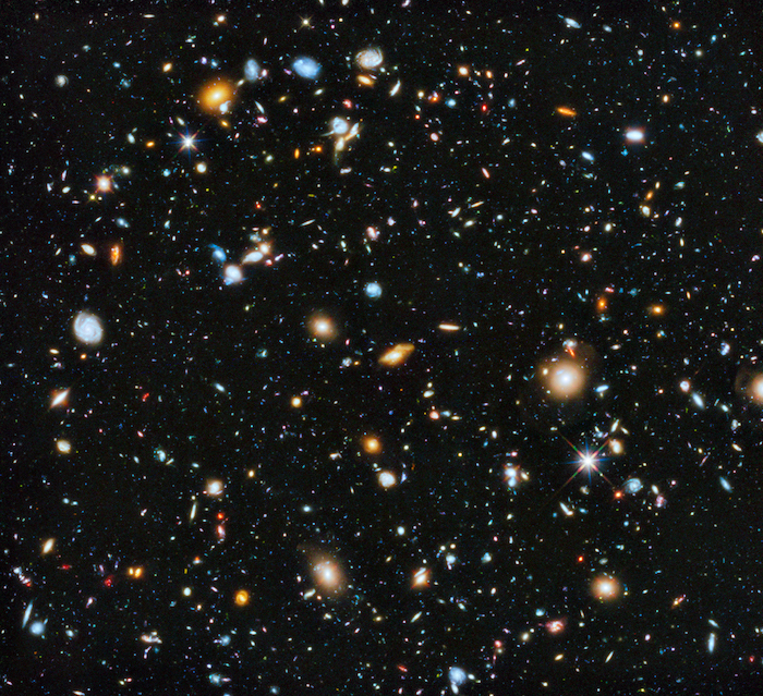The Hubble Ultra-Deep Field image shows some of the most remote galaxies visible with present technology, each consisting of billions of stars. The image's area of sky is very small – equivalent in size to one tenth of a full moon. Photo credit: NASA