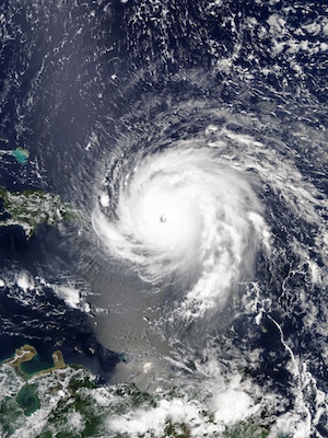 Hurricane Irma over the Virgin Islands at peak intensity on September 6, 2017 as the second most intense Atlantic hurricane on record in terms of sustained winds. MODIS image captured by NASA's Aqua satellite - EOSDIS Worldview. Public Domain.