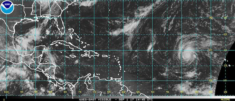 Atlantic wide view satellite image. National Hurricane Center