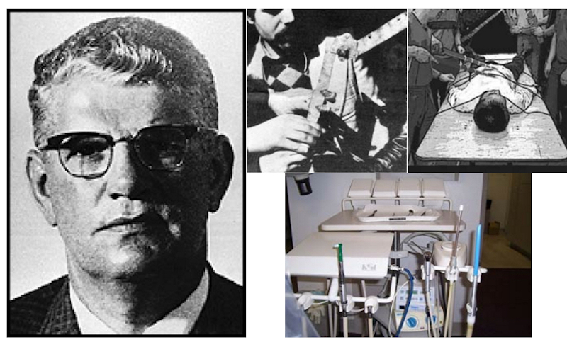 "Dan Mitrione (above left); also shown a finger crushing device, an electric shock device, and dental devices - all smuggled into Brazil and Uruguay by ""diplomatic pouch"" from the United States. Mitrione is the man who made torture a routine part of the CIA's operations throughout Latin America. He is quoted as having said: ""The precise pain, in the precise place, in the precise amount, for the desired effect."" He used homeless people for training purposes, who were executed once they had served their purpose. On July 31, 1970, the left-wing Tupamaros in Uruguay kidnapped Mitrione and an Agency for International Development associate, Claude L. Fry. Although the Tupamaros released Fry they proceeded to interrogate Mitrione about his past and the intervention of the U.S. government in Latin American. Mitrione was later found dead in a car. He had been shot twice in the head. Image: antipasministries.com"