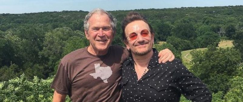 Former President George W. Bush and U2 lead singer Bono at Bush's ranch in Crawford, Texas, on May 26, 2017.