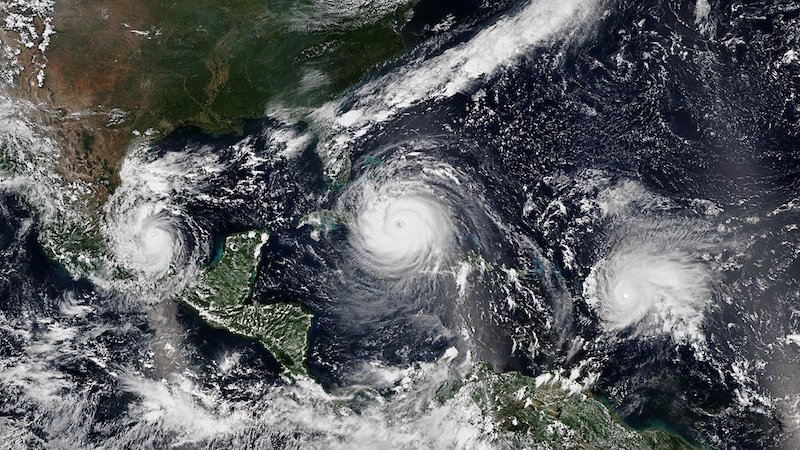 A study led by PNNL shows that hurricanes intensify more quickly now than they did 30 years ago. Hurricanes like Irma (center), and Jose (right) are examples of these types of hurricanes. Hurricane Katia is visible on the left. Credit: NOAA