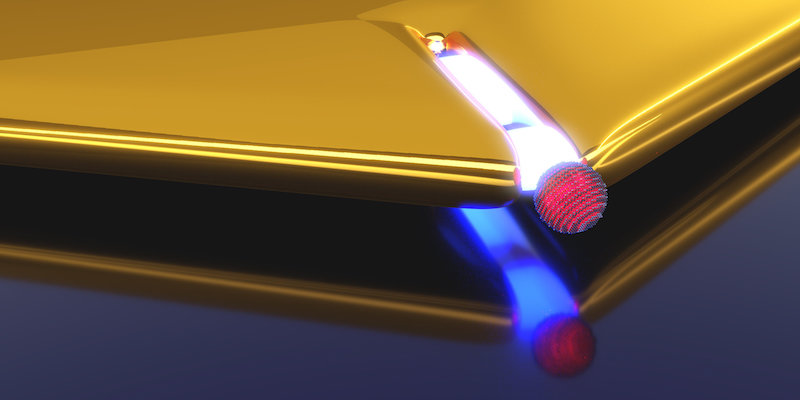 Artistic representation of a plasmonic nano-resonator realized by a narrow slit in a gold layer. Upon approaching the quantum dot (red) to the slit opening the coupling strength increases. Credit: Heiko Groß