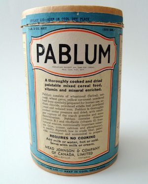 Early container of Pablum. Image courtesy of the Hospital for Sick Children.
