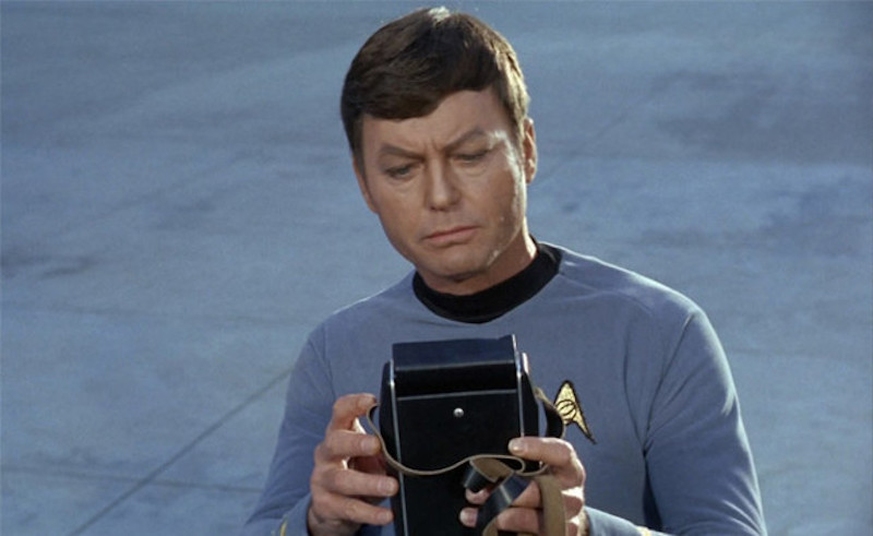 "Dr. ""Bones"" from Star Trek TV show uses a ""tricorder"" to diagnose a medical condition. ""He's dead, Jim."""